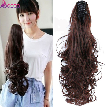 Heat Resistant Synthetic Hair  Wavy Claw Clip in/on Ponytail Hair Extensions  for women black brown charming long black shaggy wavy heat resistant synthetic ponytail for women