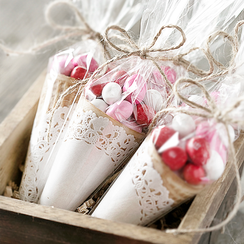 50pcs Baby Shower Wedding Sweet Clear Candy Cone Storage Bags Kids Gift Bags Happy Birthday Party Candy Bags Supplies