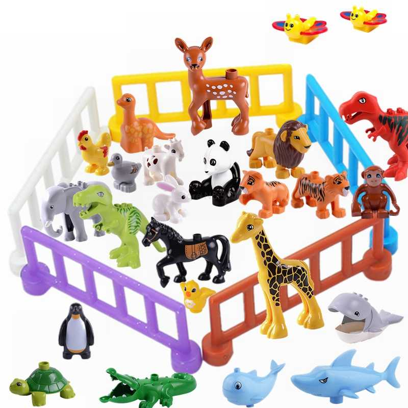 Legoingly Duplo Animal Dinosaur Elephant Panda Monkey Zoo Model Figures Big Size Building Blocks Educational Toys For Children