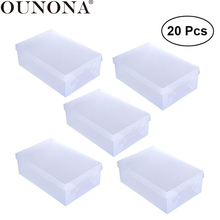 OUNONA 20pcs Women Shoe Storage Box Foldable DIY Clamshell Transparent for Home Office Closet Organization