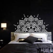 Vinyl Art Home Decor Headboard Boho Bohemian Wall Sticker Half Mandala Flowers Decoration For Bedroom Poster Mural W599