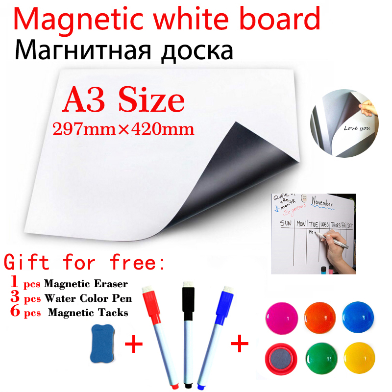 A3 Size Magnetic Whiteboard Fridge Sticker Home Office Kitchen Magnet Dry Erase White Boards Gift 3 Pen 1Eraser 6 Magnetic Tacks