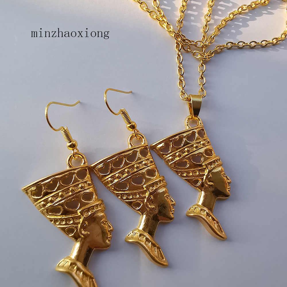 מצרים נשים תכשיטי סט זהב מלכה מצרית נפרטיטי קסמי להתנדנד עגילים & תליון שרשרת סט בציר קמע תכשיטי מתנה