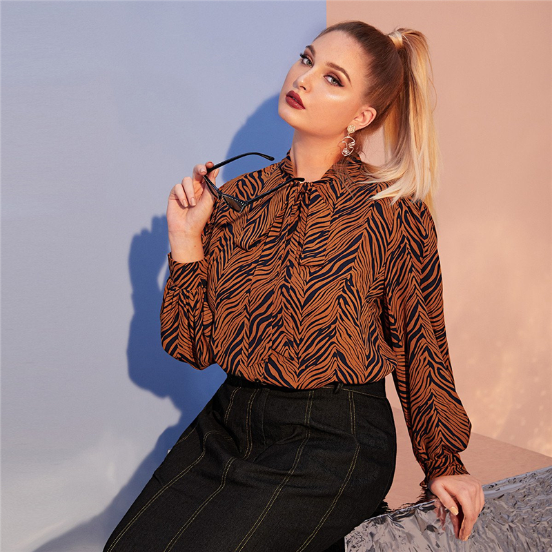 Plus Size Multicolor Tiger Skin Print Tie Neck Blouse