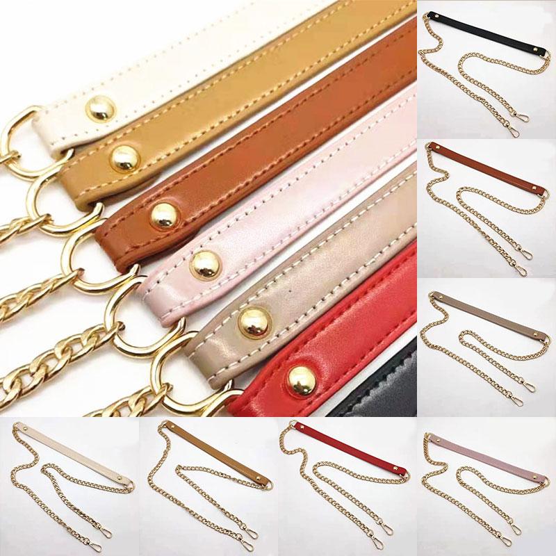 120cm Bag Chain Replacement Metal+PU leather Bag Straps for DIY Handbag Handles Shoulder Straps Accessories O bag Handles