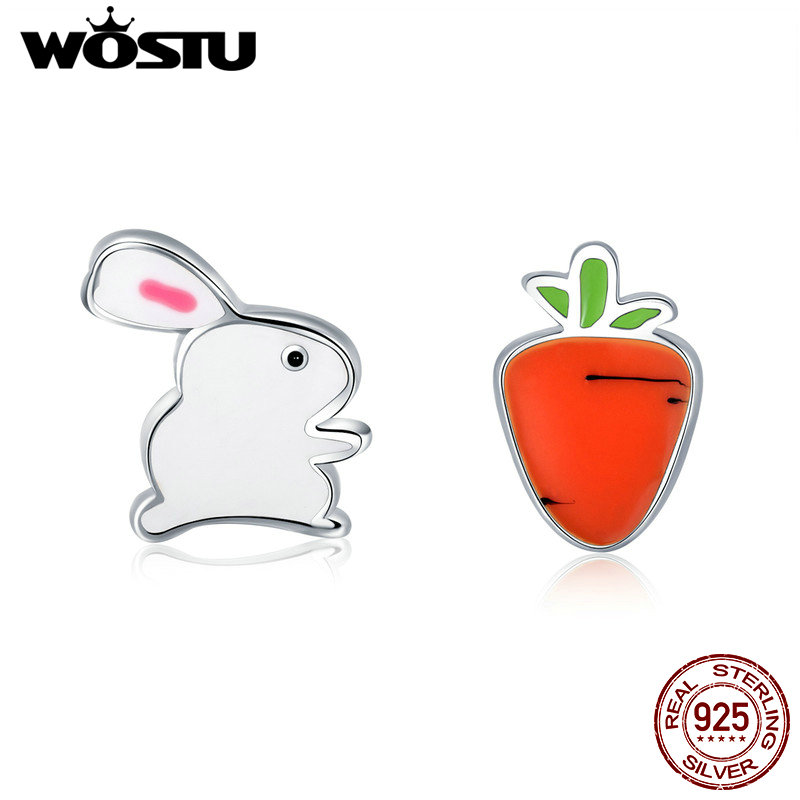 WOSTU Authentic 100% 925 Sterling Silver Tiny Carrot Rabbit Animal Stud Earrings For Women Silver Party Fine Jewelry Gift CSE154