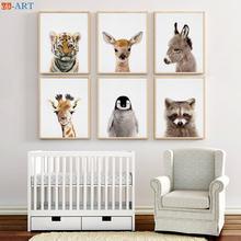 Детские животные принты малыш Пингвин олень Тигр осел постер