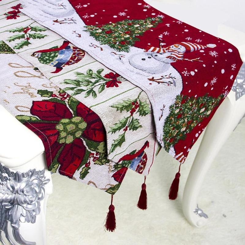 Merry Christmas Table Runner Flower Printed Tablecloth Home New Year Party Decor Hotel Christmas Decoration For Home