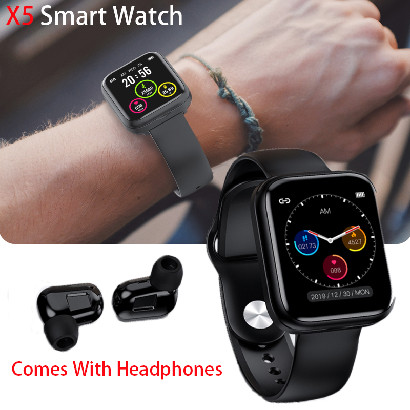 Умные часы X5, TWS, Bluetooth-гарнитура, беспроводные наушники 2 в 1, Bluetooth 5,0, цветной ЖК-дисплей 1,54 дюйма, умные часы для Android, IOS