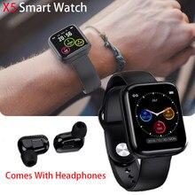 X5 relógio inteligente tws bluetooth fone de ouvido sem fio 2in1 bluetooth 5.0 1.54 polegada cor lcd relógio inteligente para android ios
