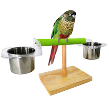 Многофункциональный попугай жердочка для птицы столешница деревянная подставка с 2 чашки для кормления из нержавеющей стали для воды и пищевой техники Z2