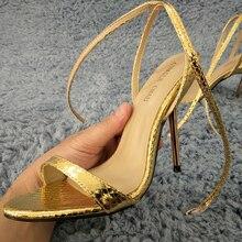 Sexy Gold Snakeskin Sandals High Heel Popular Dress Party Women Sandals Summer New Open Toe Ankle Strap Stiletto 11cm Heel Shoes