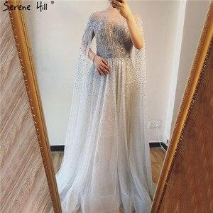 Image 5 - Prata cinza luxo mangas compridas vestidos de baile 2019 mais recente design o pescoço a linha sexy vestidos de baile sereno hill dla60869
