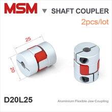 2pcs/lot MSM Shaft Couplers D20L25 Flexible Rubber Jaw Motor Connector 5mm 6mm 8mm 10mm Aluminium 3d Printer Coupling CNC kits