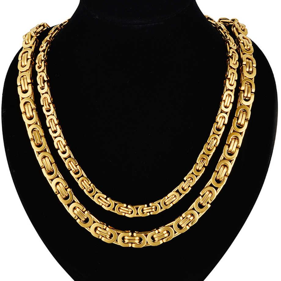 Mens Collane Catene In Acciaio Inox Collana In Oro Argento per Gli Uomini Curb Bizantina di collegamento Dei Monili della catena