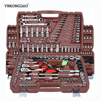 Zestaw gniazd uniwersalne narzędzie do napraw samochodowych zestaw grzechotkowy kombinacja kluczy dynamometrycznych Bit zestaw kluczy wielofunkcyjne DIY toos tanie i dobre opinie YINLONGDAO CN (pochodzenie) Stal z chromu-wanadu Demontowalne Wielofunkcyjny ANTYPOŚLIZGOWY 32-126pcs Klucz grzechotkowy