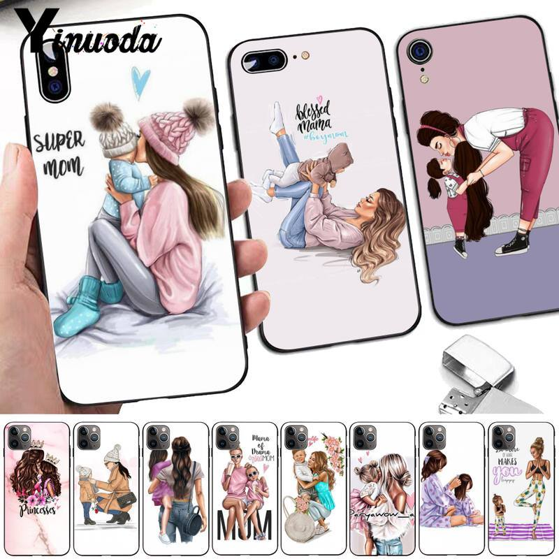Yinuoda Black Brown Hair Baby Mom daughter Girl Son Dad Phone Case for iPhone 8 7 6 6S Plus X 5 5S SE 2020 XR 11 pro XS MAX