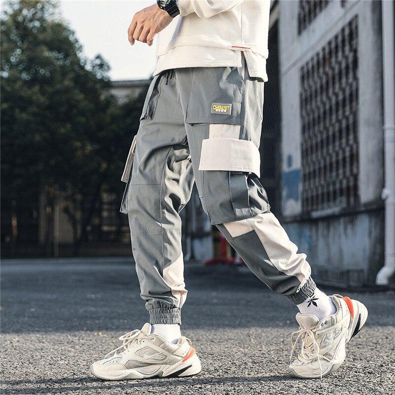Мужские черные шаровары в стиле хип-хоп, повседневные спортивные штаны с несколькими карманами, M-3XL Harajuku, осень 2020