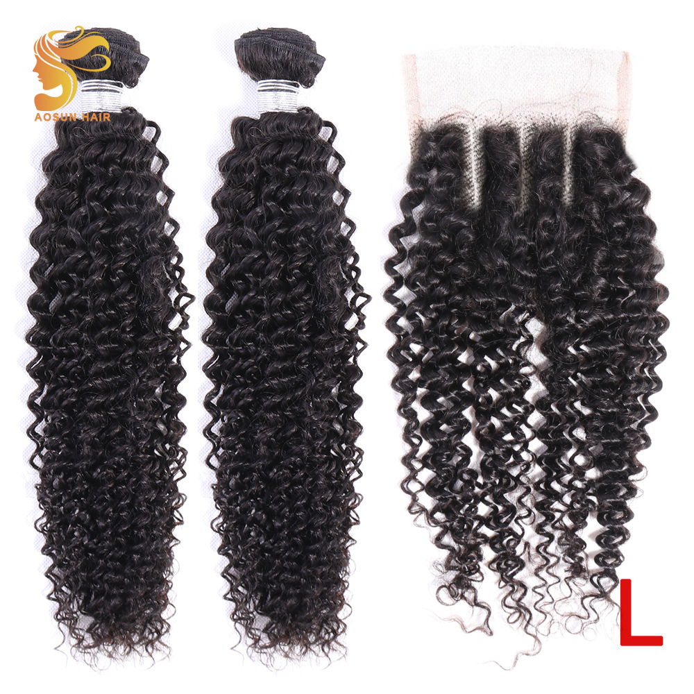 AOSUN HAIR Brazilian Hair Kinky Curly Bundles With Closure 100% Remy Human Hair Extensions 8-26inch Natural Color Low Ration