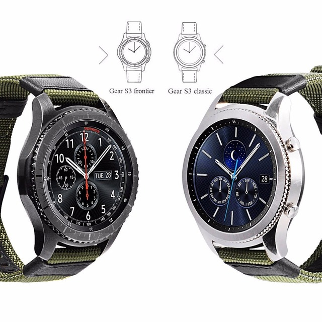 strap For Samsung Galaxy watch 3 46mm band gear s3 Frontier Classic nylon 22mm 20mm WatchWoven Nylon Band for 20mm 22mm Wrist 3
