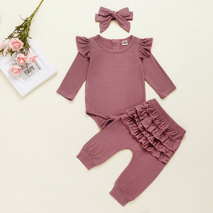 Image 5 - Newborn Baby Girl Clothes Autumn Infant Baby Clothes Outfits Knitted Bodysuit Top Romper Ruffle Pants Headband 3pcs Clothing Set