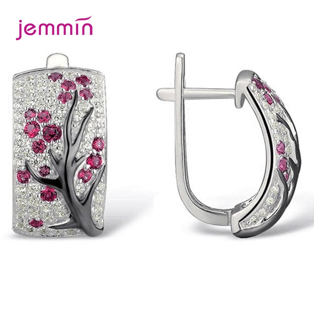 Romantic Cubic Zirconia Flower 925 Sterling Silver Plum Tree Branch Hoop Earrings Korean Style Shiny Wedding Party Jewelry