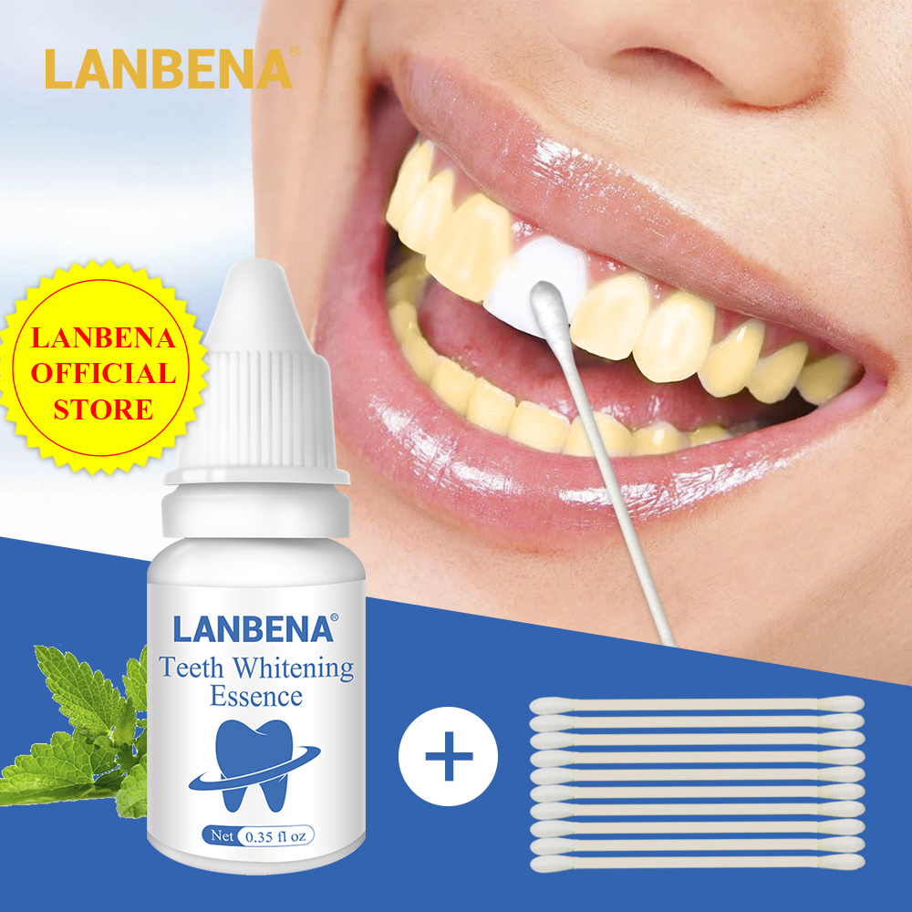 LANBENA White Teeth Whitening Essence Dental Whitener Oral Hygiene White Tooth Cleaning Bleaching Serum Remove Plaque Stains