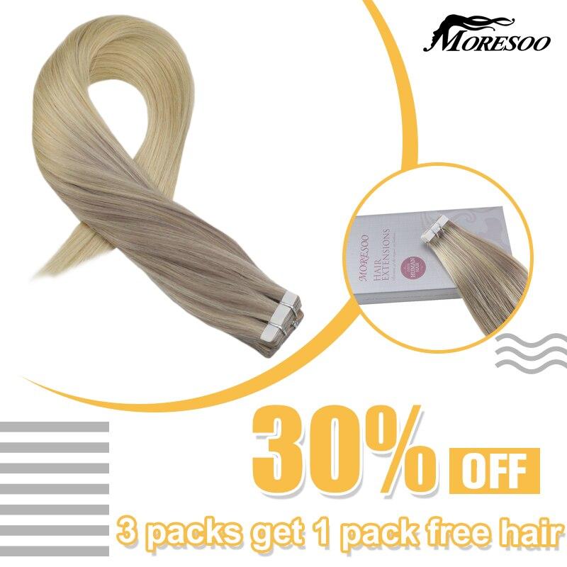 Moresoo máquina remy fita em extensões de cabelo balayage ombre #18 desvanecimento para #22 e #60 loira fita em extensões de cabelo natural