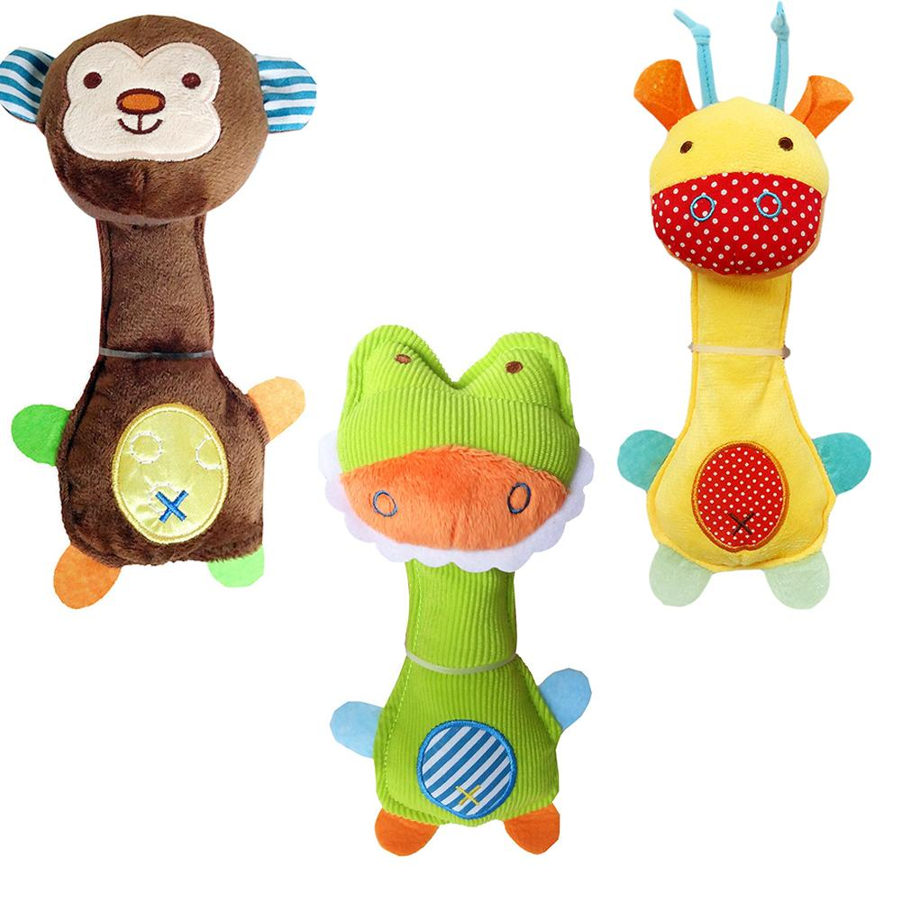 Kids Toys Baby Rattle Toy Plush Giraffe Animal Doll Baby Hand Rattle Graping BB Stick Educational Toy Soft Hand Bell Toy