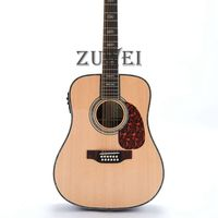 Top Quality 12 Strings Acoustic Guitar Solid Spruce & Back Sidet Bone Nut & Saddles D Style Fishman 101 Rosewood Backside