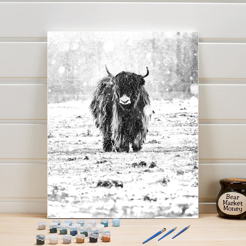 Coloring By Numbers On Canvas Animal Yak Acrylic Paint Oil Paintings Kits Hand-painted Arts Wall Picture For Living Room Adults