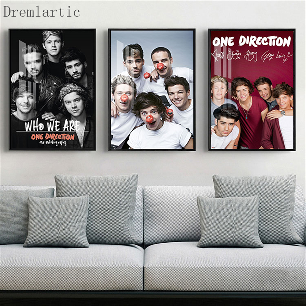 One Direction Home Decor Canvas Printing Silk Fabric Print Wall Poster No Frame#20-1005-17C