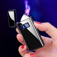 2020 dupla sem chama cigarro recarregável duplo arco plasma metal power display inteligente mais levemetal lightermetal cigarettemetal cigarette lighter