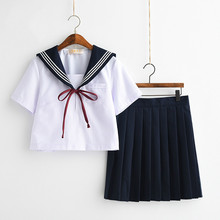 Japanese School Uniforms Bowknot JK Suits Navy Skirts Female Dresses Sailor Costumes Gray Cardigans Dress Clothes for Women