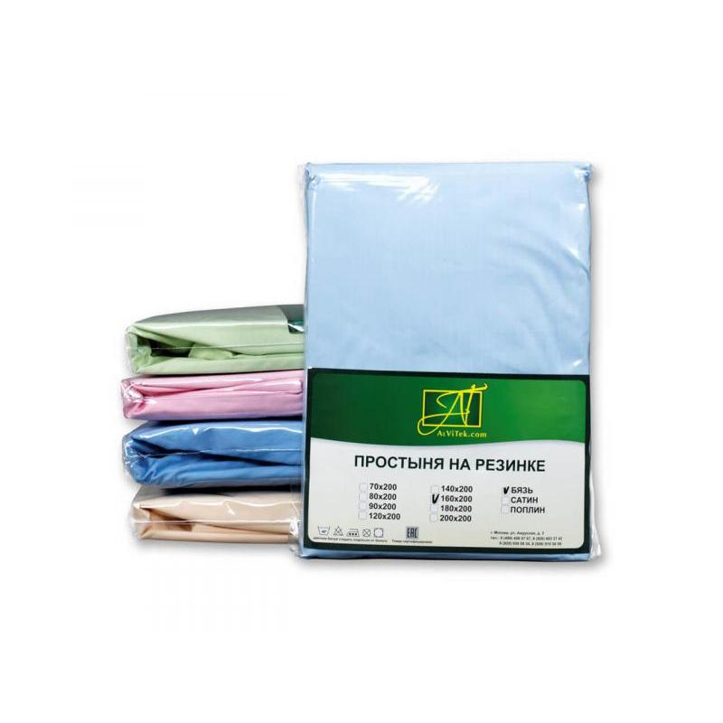 Bed Sheet with elastic band АльВиТек, 180*200*25 cm, blue, Poplin bed sheet with elastic band альвитек 90 200 25 cm lavender poplin