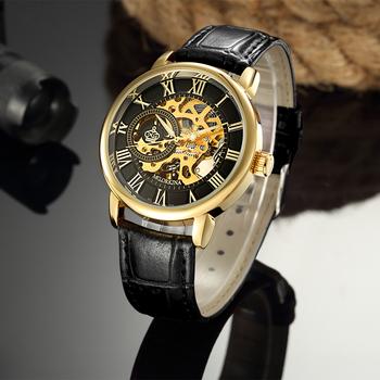 ORKINA mężczyźni zegarki Top marka luksusowe mechaniczna ręka wiatr zegarki mężczyźni złoty szkielet zegarki skórzany męskie zegarki reloj hombre tanie i dobre opinie MG.ORKINA MG Klamra 20cminch Nie wodoodporne Moda casual STAINLESS STEEL ORKINA 130077 40mmmm ROUND Nie pakiet 20mmmm