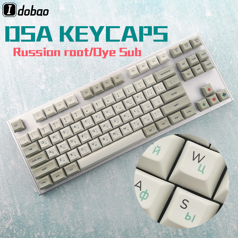 Dye Sub Dsa  Profile Russian Root Thick Pbt Keycaps  Set For Mechanical Gaming Keyboard Anne Pro 2 Gk61 Akko 3087 ASNI 87 104