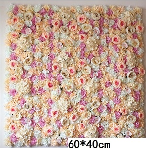 Image 1 - 60*40CM Artificial Flowers Wall Hanging Flower Head Silk Rose Floral For Wedding Backdrop