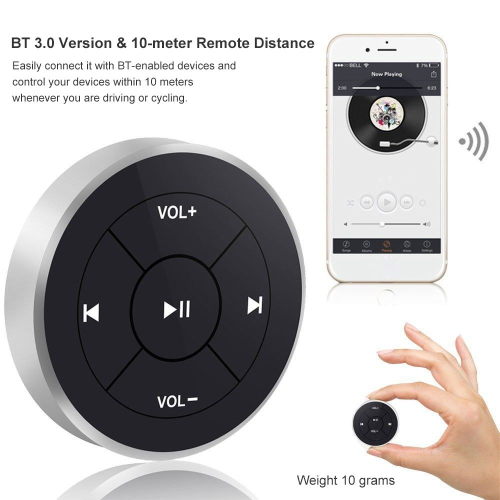 BT-005 Wireless Media Button Bluetooth 3.0 Remote Control for Car Steering Wheel Motorcycle Bike Music Play Media Controller for