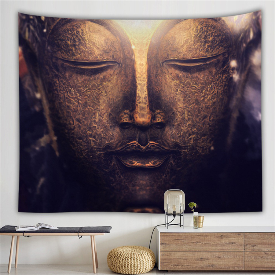 Ancient Buddha Statue India Mandala Tapestry Buddha Under The Tree Hippie Boho Decor Psychedelic Carpet Art Wall Hanging Blanket
