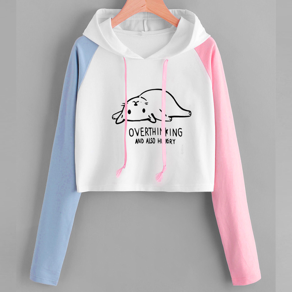 Women Sweatshirt Hoodies cat Print color block Long Sleeve Autumn Winter Crop Sweatshirt Hooded Pullover Tops sudadera mujer new