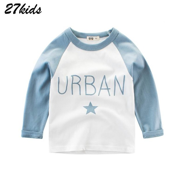 27kids 2-9Years Cotton Baby Boys T Shirt Spring Autumn Children Kids Long Sleeve Shirts Meninos La Camiseta Fashion Girls Tops