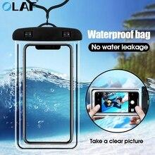 Funda de teléfono resistente al agua OLAF para iPhone 7 8 Plus X Xs Max XR, funda subacuática para teléfono inteligente, bolsa funda para Samsung S8 S9, funda seca