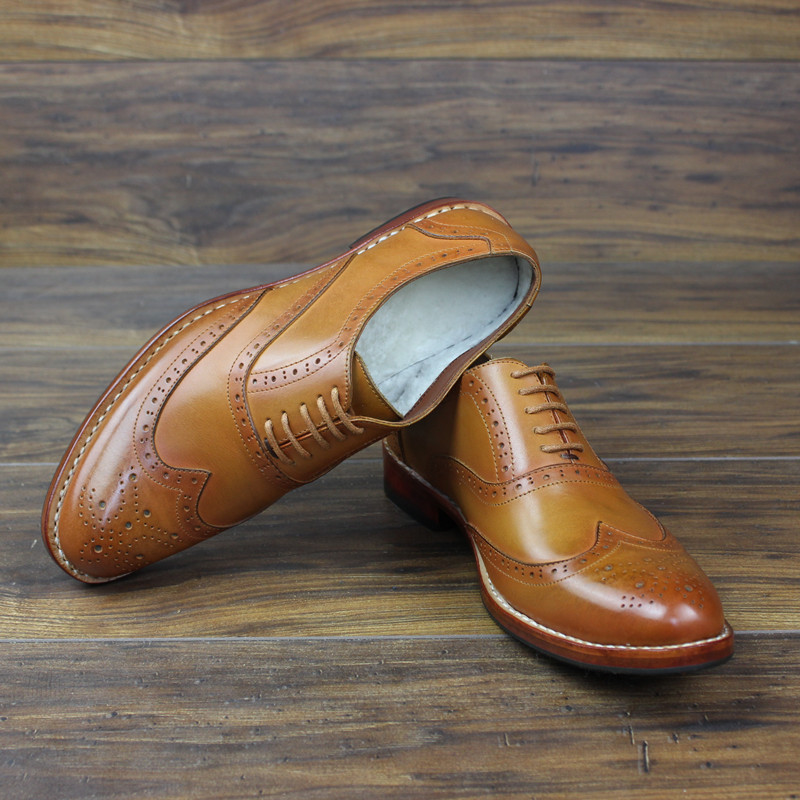 Goodyear Business Wool Top Grade Custom-made Shoes Handmade Cow Leather Genuine Leather Full Grain Leather Oxfords Pointed Toe