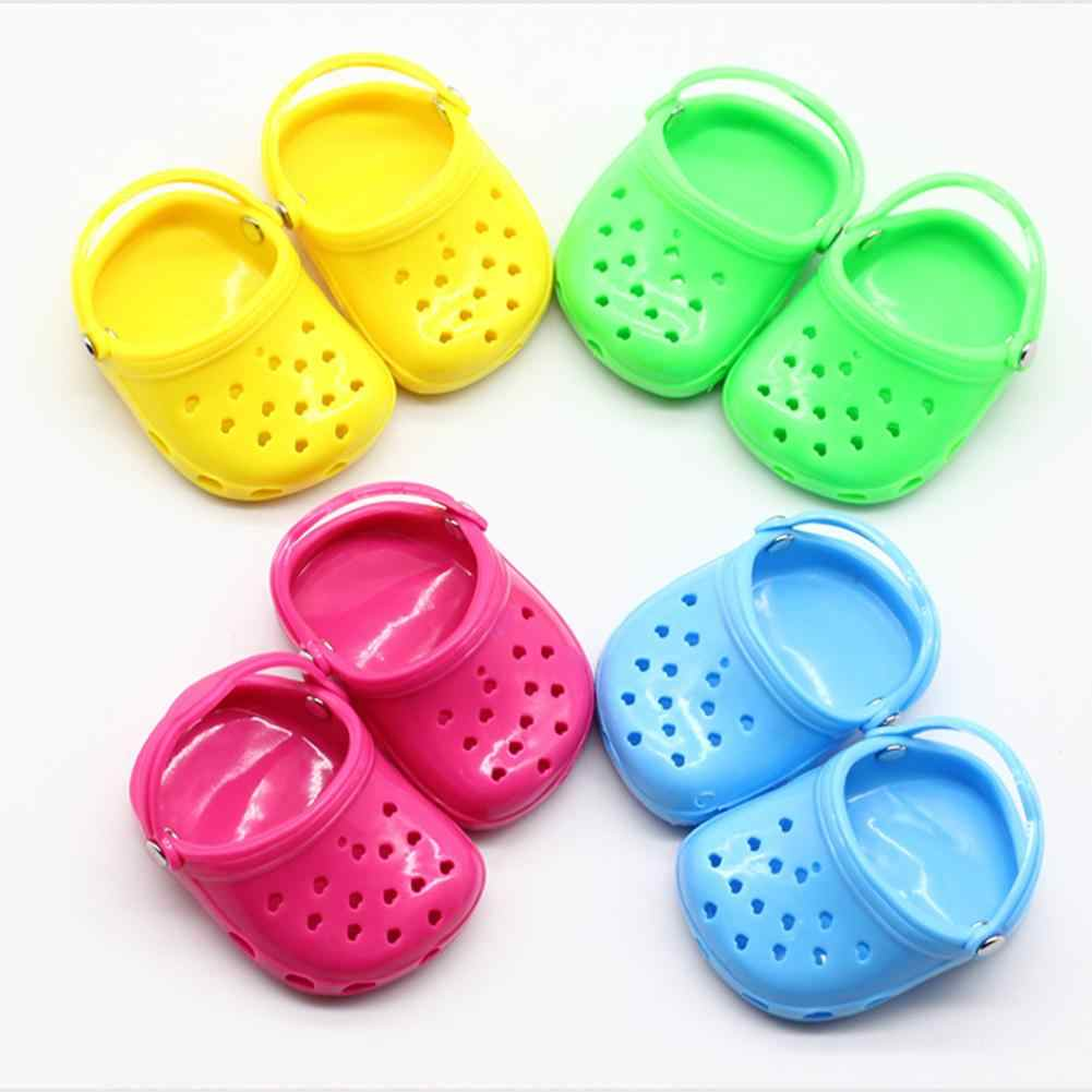 1Pair Mini Candy Color Cave Sandals Shoes for 18inch Girl Doll Accessories Gift