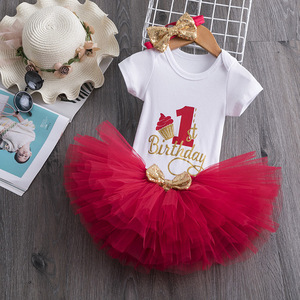 Sequin Letter Birthday Dress 1 Year Old Baby Girl Christening Gown Newborn Girls Baptism Dresses Princess Party Clothing 0-12M