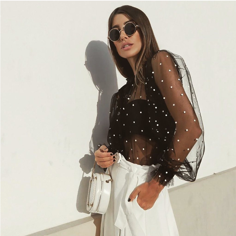 Sexy Fashion Polka Dot Mesh See Through Turn Down Collar Long Sleeve Women Blouse Sexy Tops and Shirt Fall Clothing Club Wear