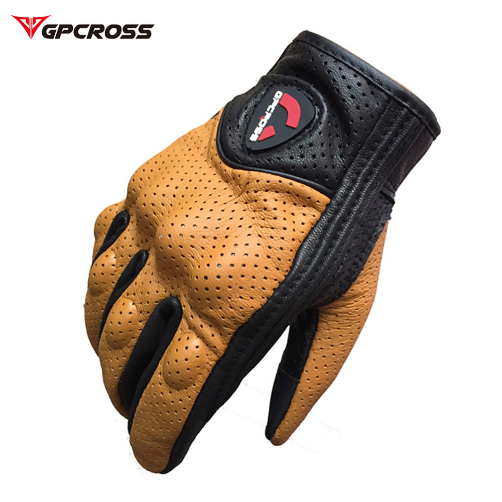 Retro Pursuit Perforated Real Leather Motorcycle Gloves Moto Windproof Guantes Motorcycle Protective Gears Motocross Gloves