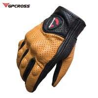 Retro Verfolgung Perforierte Echt Leder Motorrad Handschuhe Moto Winddicht Guantes Motorrad Schutz Gears Motocross Handschuhe