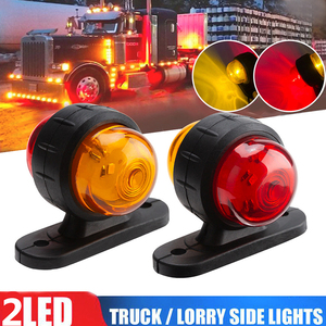 2x Red Amber Corner Side Marker LED Light Outline Lamp Truck Trailer Van Bus 12V